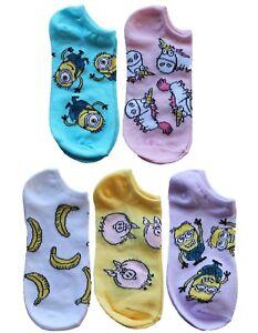 Despicable Me Minions Pastel 5pk No Show Socks Carl Dave Fluffy Unicorn Pig Teen