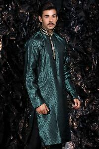 Sea Green Embroidered Kurta - Indian Bollywood Mens Suit