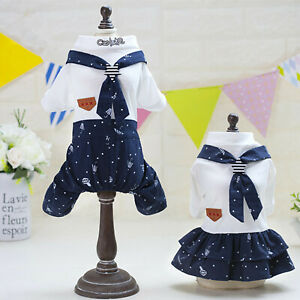 Small Dog Cat Clothes Navy Couples Dress Jumpsuit Puppy Pet Coat Apparel Costume