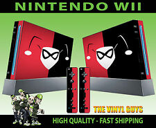 NINTENDO WII STICKER HARLEY QUINN LOGO RED BLACK BATMAN SKIN GRAPHIC & PAD SKIN