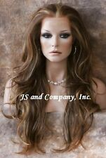 Heat Safe FRENCH LACE FRONT WIG Extra Long Natural Wavy Brown Auburn Mix A8 MS