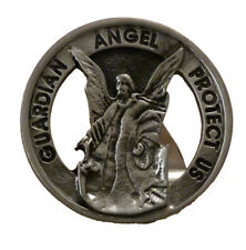 'Guardian Angel Protect Us' Round Pewter Car Visor