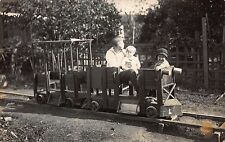 Real Photo Postcard Homemade Wooden Miniature Railroad Train in Backyard~110647