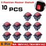 10 DPDT Double Pole Double Throw 6Pin ON-OFF-ON Red LED Rocker Switch Waterproof