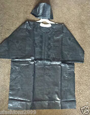 Men Clothing Brocade Print Dashiki TopW/Cap African Ethnic Shirt Plus Size Black