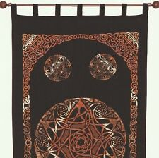 Unique Handmade Celtic Tab Top 100% Cotton Curtain Drape Panel Brown 44x88