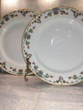 "2 Vintage LIMOGES FRANCE Vignaud  Porcelain 9.5"" DINNER PLATE Pird of paradise"