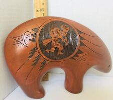 """Native Hand Painted Engraved Tribal Bear Figurine 5 1/2"""" Tall 8� Long"""