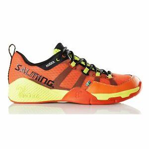 Salming Kobra Men's Indoor Court Squash Badminton Shoes - Orange/Black- Reg $200