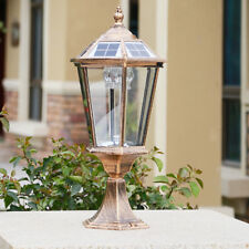 Modern Metal Lantern Clear Glass Solar Power Outdoor Pillar Light Gatepost Lamp