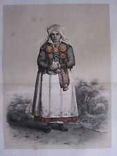 1872 PRINT SWEDISH PEASANT COSTUME WOMEN DISTRICT OF LJUNITZ Skanska Folkdragter
