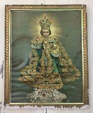MERCIFUL CHILD JESUS of PRAGUE - Vtg 1920s Catholic Gold Framed Picture Print