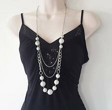 "Gorgeous 36"" long silver tone 3 layered chain & bead necklace, NEW"