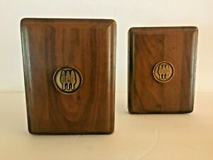 VINTAGE WALNUT BOOKENDS WITH THREE TREES BRASS SYMBOL
