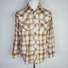 JCPenney Western Shirt Pearl Snap Brown Plaid Cowboy Vintage Rockabilly Medium
