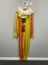 ex hire fancy dress costume- Colourful Clown Knitted Jumpsuit With Neck Ruffles