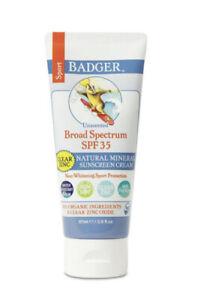 BADGER Sport SPF 35 Clear Zinc Sunscreen Unscented Water Resistant