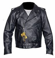 Mens Leather Brando Jacket Biker Classic Motorbike Motorcycle Vintage Perfecto