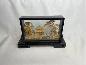 Vintage Hand Carved SAN YOU Cork Sculpture Diorama w/ White Herons Amazing!!