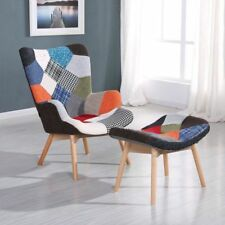 Wing High Back Multicolor Patchwork Armchair Chair With Foot Stool Retro Design