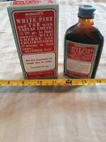 ☆New old stock Dr. Hobson's White Pine and Tar w/ Tartar Emetic Amber Bottle 3oz