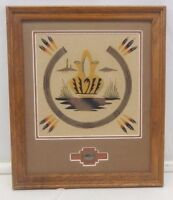 NAVAJO SAND PAINTING OF POTTERY WITH SAND OF NATURAL COLORS