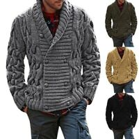 Men's Knitted Thick Shawl Collar Double Breasted Cable Knitwear Cardigan Sweater