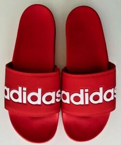 Adidas adilette comfort slides active red-Cloud White Men's SIZE 11 F34725 NWB