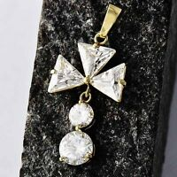 Vintage fashion jewelry jeweller 18K Gold CZ  Flower Pendant  For long necklace