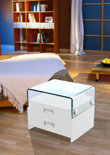 Greatime NL2004 white modern two draws nightstand with Glass on top