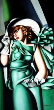 Homage To T. De Lempicka - Girl In Green With Gloves 60x120 cm Reproduction Oil