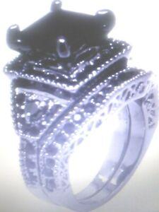 BLACK PLATINUM TITANIUM PRINCESS LCS  BLACK DIAMOND WEDDING RING SET SZ 11-15