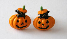 Black Cat in Pumpkin Earrings / Post or Stud / Halloween Earrings in Gold-tone