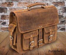 Handmade Premium Hunter Leather Satchel Briefcase Laptop Bag RRP £139.99
