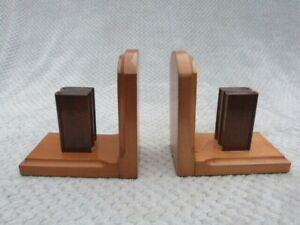 PAIR OF VINTAGE WOODEN BOOKENDS