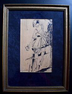 Dibujo Pluma Tinta Arte Deco Bailarina Años 1940 Firmado a Identificar Xx