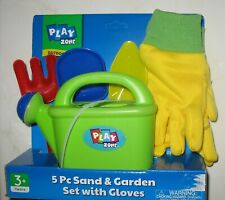 Play Zone - New - 5 Pc. Sand & Garden Set With Gloves 3+Years
