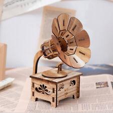 Retro Speaker Gramophone Record Player Stereo Sound Musical Box Walnut Color