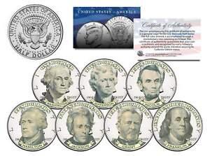 U.S. BANKNOTES PORTRAIT DESIGN *Exclusive* Colorized JFK Half Dollar 7-Coin Set