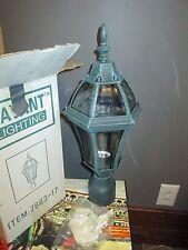 GREEN Outdoor Post Mount Light Fixture Lamp Head Pole Top Lantern Glass SAVANT