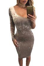 Abito aperto eco pelle scamosciata aderente nudo Mini Faux Suede Bodycon Dress M