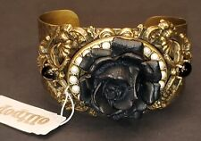 Elegant Ollipop Hammered Brass & Black Rose Cuff Bracelet & White Faux Pearls