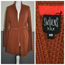 Swildens Rustic Orange Cable Knit Cardigan Cover Sweater with Belt XS 60% Cotton