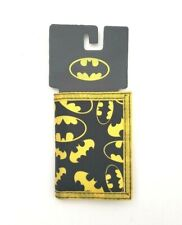 Batman Logo Tri-Fold Nylon Canvas Wallet Chain Grommet Hole Black/Yellow Age 14+