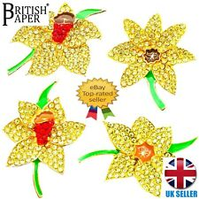 NEW DAFFODIL PINS BROOCHES ARTIFICIAL FLOWERS CRYSTAL BADGES JEWELLERY FOR WOMEN