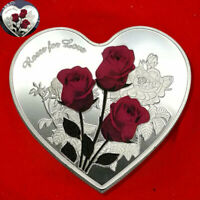 Collection Commemorative Heart Shape Coin Souvenir Gifts Love rose Valentine