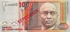 Cape Verde 1000 Escudos 1989 Unc Pn 60s Specimen