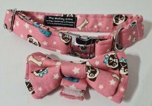Pug Print Dog Collar And Bow Tie Set. Pink