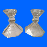 Pair Of Crystal Glass Candle Holders Octagon Shaped Base Candlestick (Lot of 2)