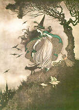 Ida Rentoul Outhwaite Witch Cat Broom Trees Halloween 2 vintage art